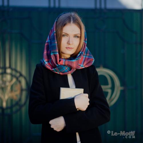 """Оригинальный шарф - снуд из шелка и хлопка из коллекции """"Бесконечность"""""""