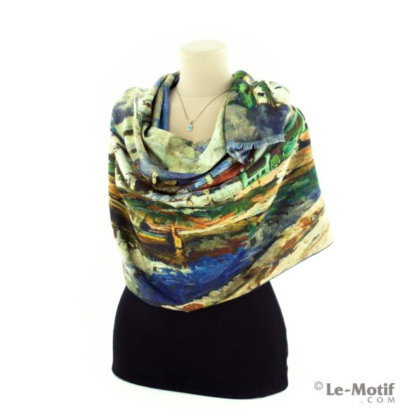 Шарф Le Motif Couture из шерсти и хлопка на шее, арт. 15LS693
