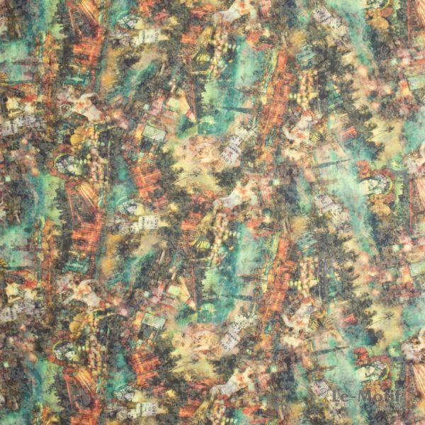 Платок Le Motif из хлопка с вискозой. Цветочные узоры.