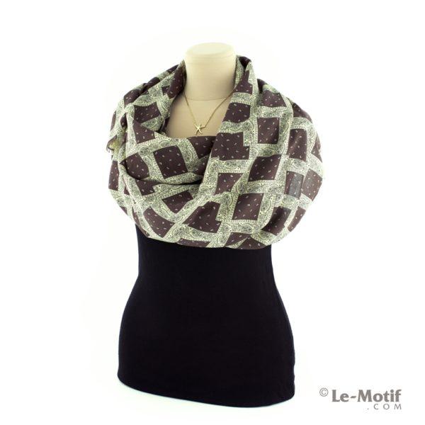 Платок Le Motif Couture из шелка и хлопка на шее, арт. S171-1