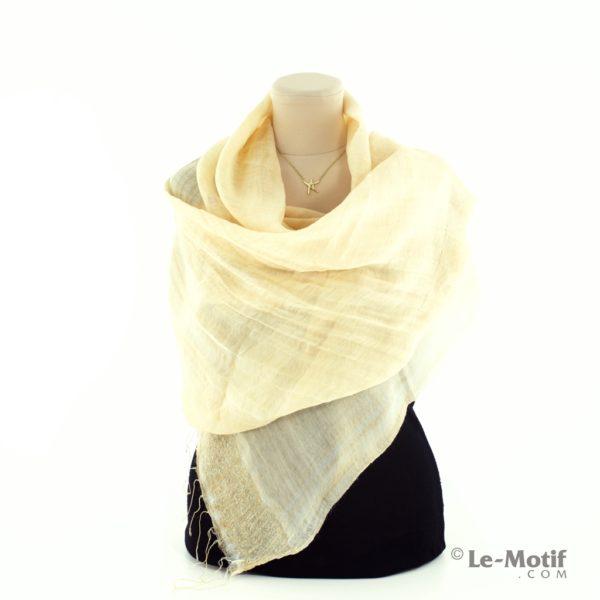 Палантин Le Motif из шелка и шерсти на шее, арт. SP-100-1