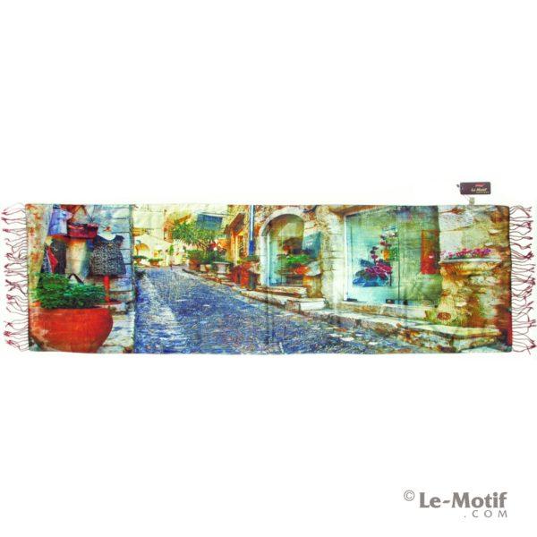 Палантин Le Motif из хлопка с вискозой картина-романтичный город