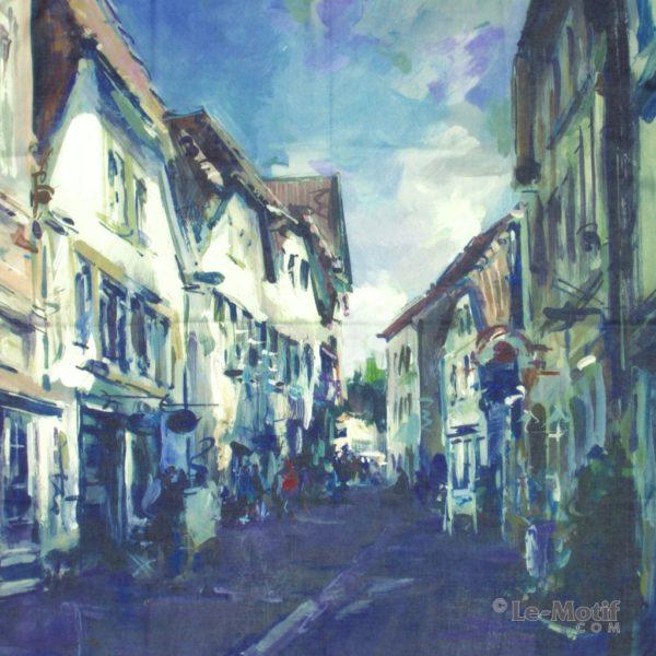 Платок Le Motif из хлопка с вискозой пейзаж городских улиц
