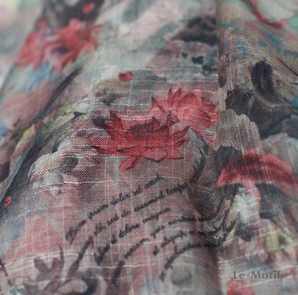 Платок Le Motif из льна с вискозой. Фото ткани 2, арт. 15Z122-1