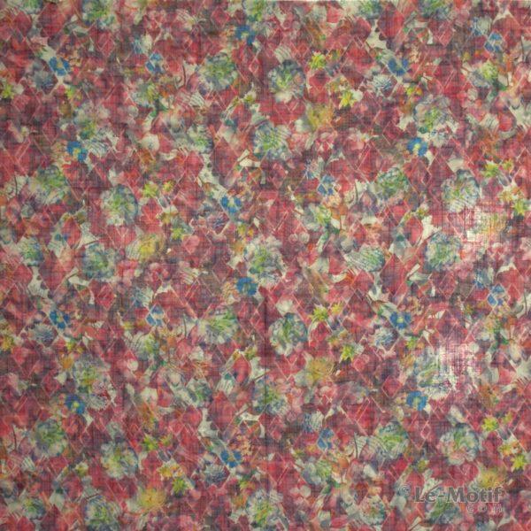 Платок Le Motif из льна с вискозой цветы на бордовом фоне