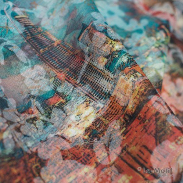 Платок Le Motif из хлопка с вискозой. Фото ткани 1, арт. 16T68-3