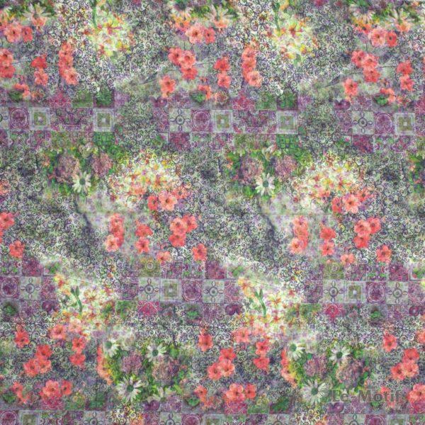 Платок Le Motif из хлопка с вискозой розовые цветы с узорами