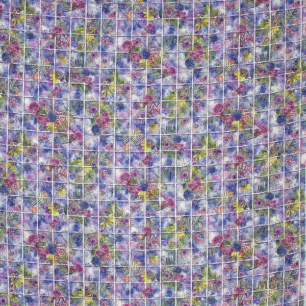 Платок Le Motif из хлопка с вискозой желтые и розовые цветы
