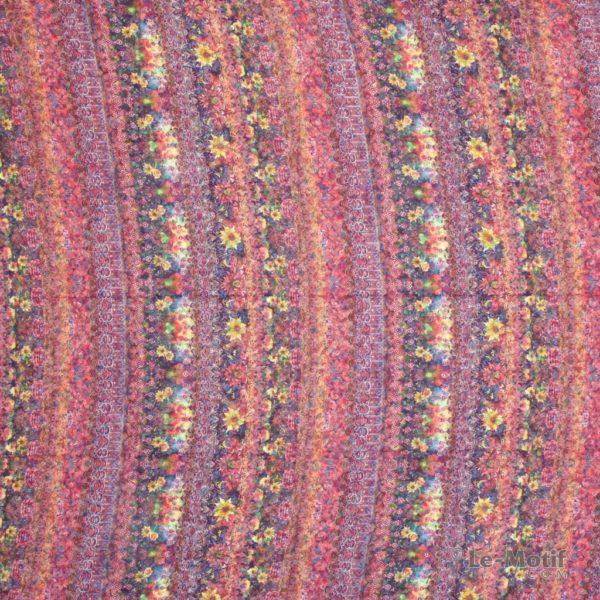 Платок Le Motif из хлопка с вискозой желто-розовые цветы
