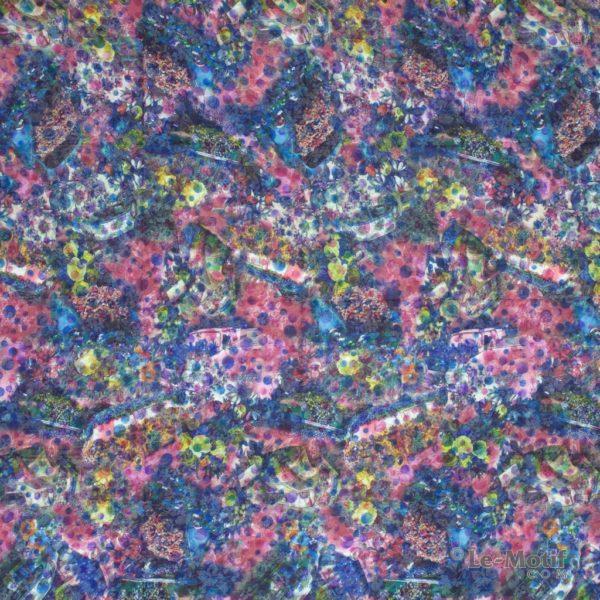Платок Le Motif из хлопка с вискозой цветы в сине-розовых тонах