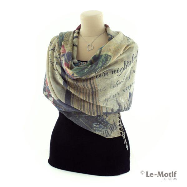 Палантин Le Motif из шелка и хлопка на шее, арт. GD06-1