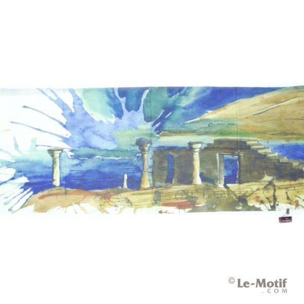 Палантин Le Motif из шелка и хлопка картина-руинына берегу