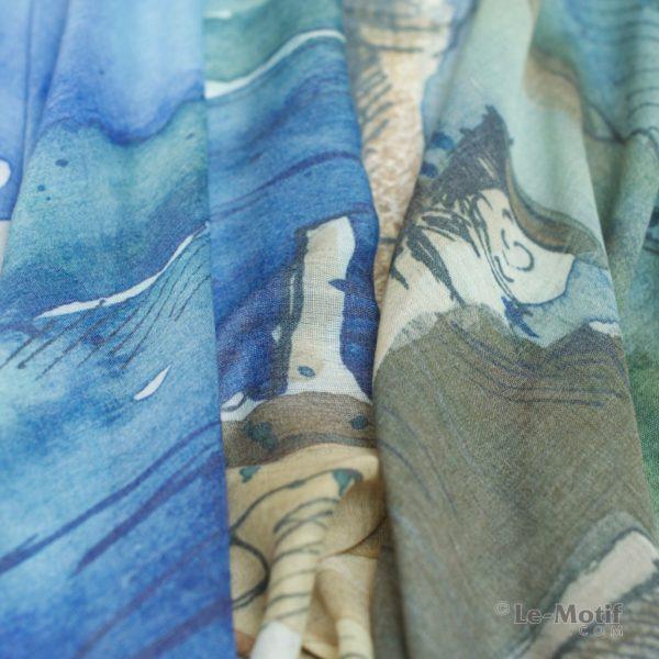 Палантин Le Motif из шелка и хлопка. Фото ткани, арт. GD15-253