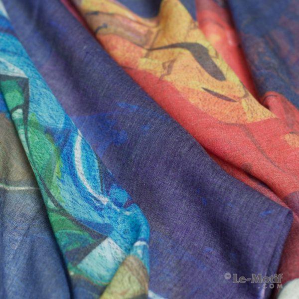 Палантин Le Motif из шелка и хлопка. Фото ткани, арт. GD15-650