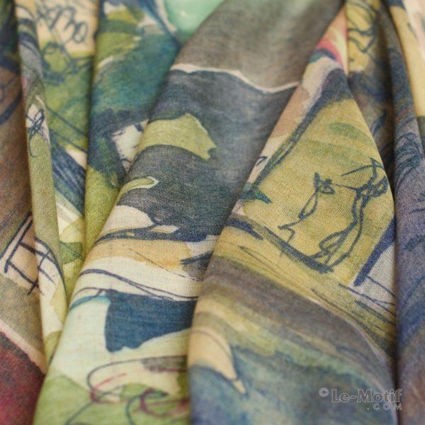 Палантин Le Motif из шелка и хлопка Фото ткани, арт. GD15-298