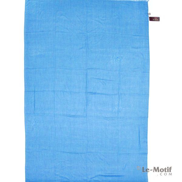 Палантин Le Motif из шелка и хлопка темно-голубой, арт.LX01-24