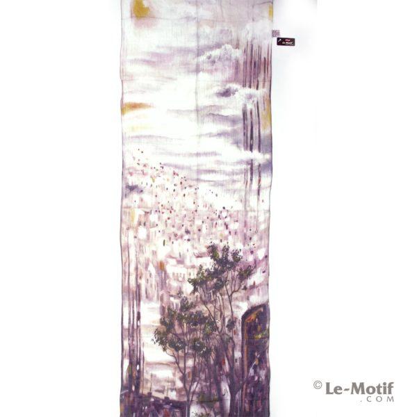 Палантин Le Motif из льна и модала. Картина - город в окне