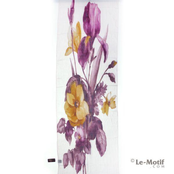 Палантин Le Motif из льна и модала. Изображение яркого букета