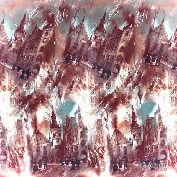 Платок Le Motif из шелка и хлопка картина- европейский город