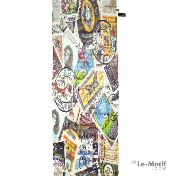 Палантин Le Motif из шелка и хлопка изображение почтовых марок