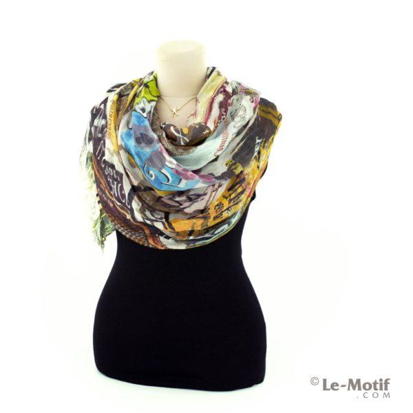 Палантин Le Motif Couture из шелка и хлопка на шее, арт. SZH15-38