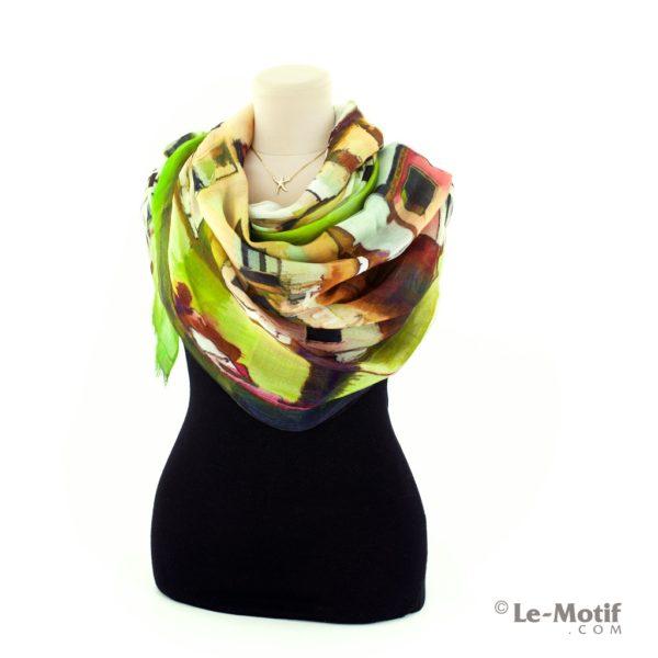 Палантин Le Motif Coutureиз шелка и хлопка на шее, арт. SZH16-59
