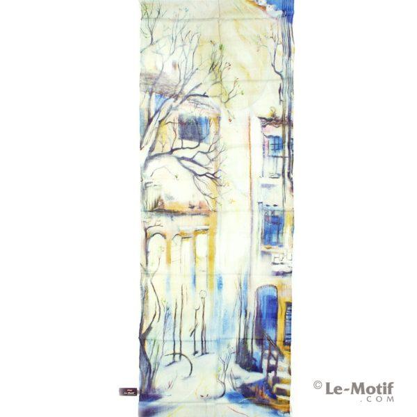 Палантин Le Motif из шелка и хлопка вид на заснеженную улицу