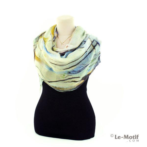 Палантин Le Motif из шелка и хлопка на шее, арт. SZH257-1