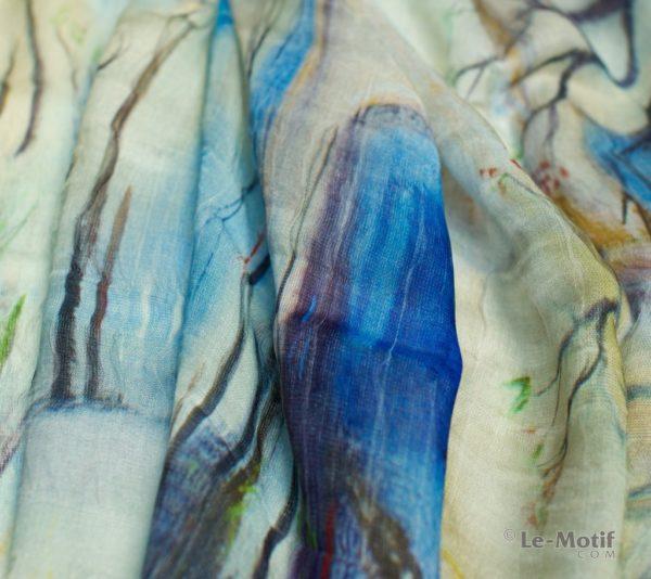 Палантин Le Motif из шелка и хлопка Фото ткани, , арт. SZH257-1
