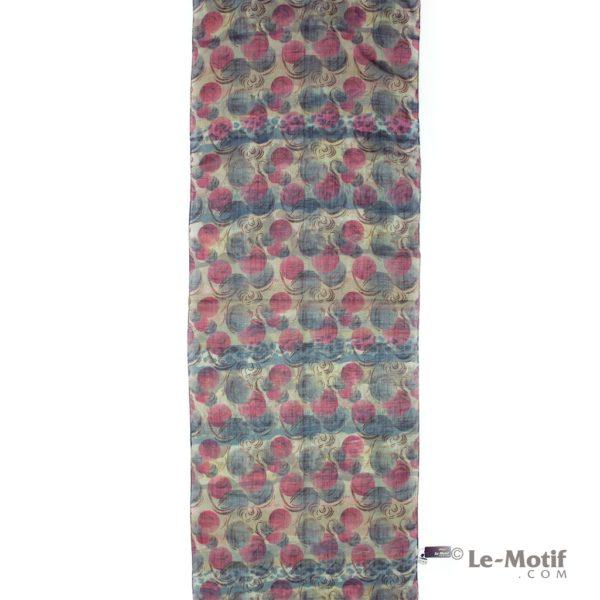 Палантин Le Motif из льна с вискозой цветные круги, арт.Z126-1X