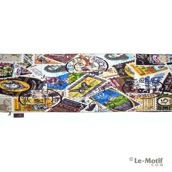 Шарф Le Motif из шерсти и хлопка. Изображение коллажа из марок