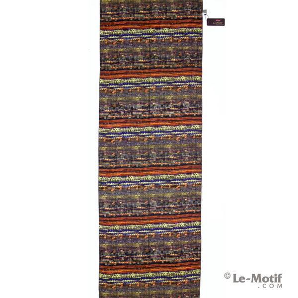 Шарф Le Motif из шерсти и хлопка. Стильная оранжевая полоска.