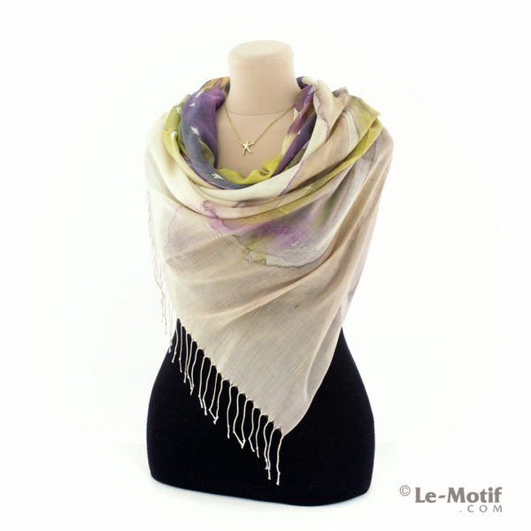 Палантин Le Motif из шёлка и хлопка на шее, арт. GD15-619