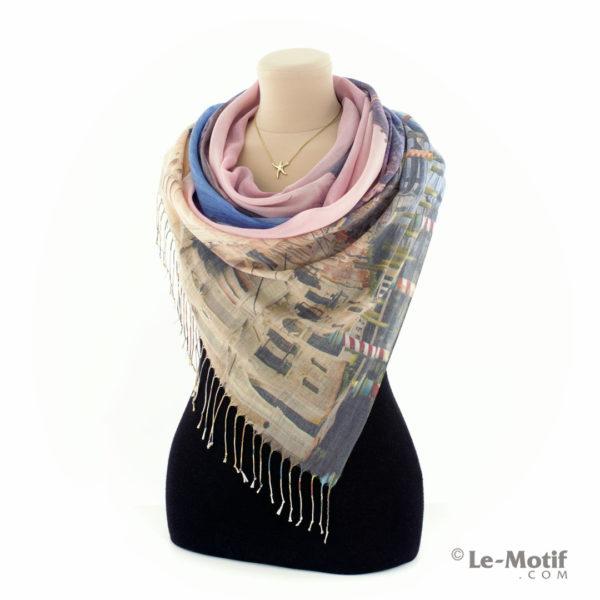 Палантин Le Motif из шёлка и хлопка на шее, арт. GD15-661