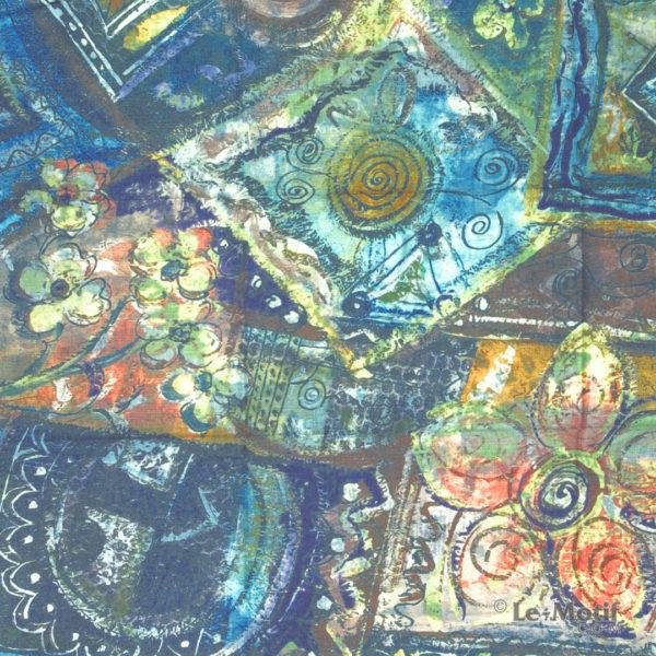 Платок Le Motif из шерсти и хлопка. Абстрактное изображение 2.