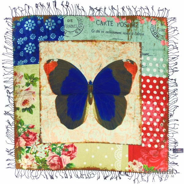 Платок Le Motif из шерсти и хлопка. Изображение бабочки.