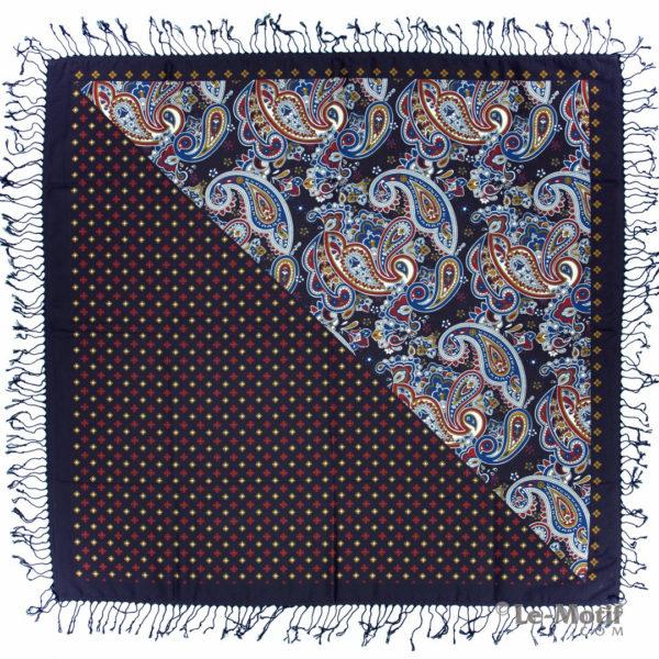 Платок Le Motif из шерсти и хлопка. Пейсли и цветочные узоры