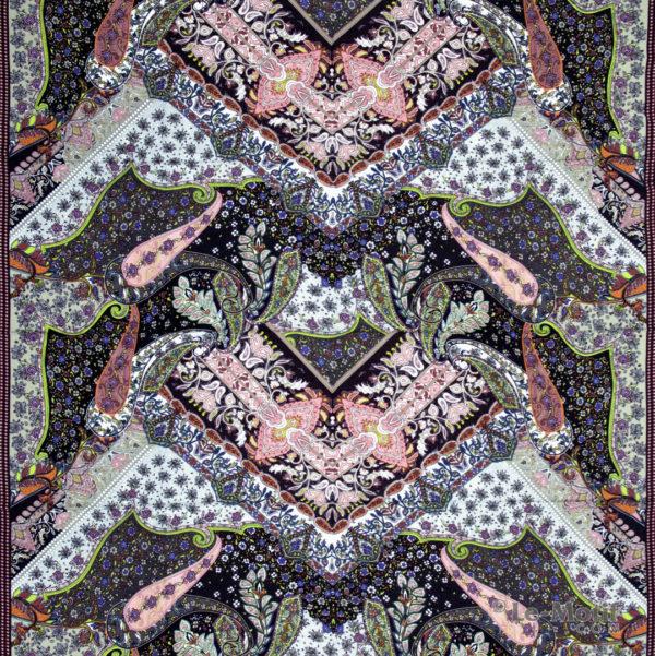 Платок Le Motif из шёлка и хлопка. Орнамент пейсли и узоры, S150-1