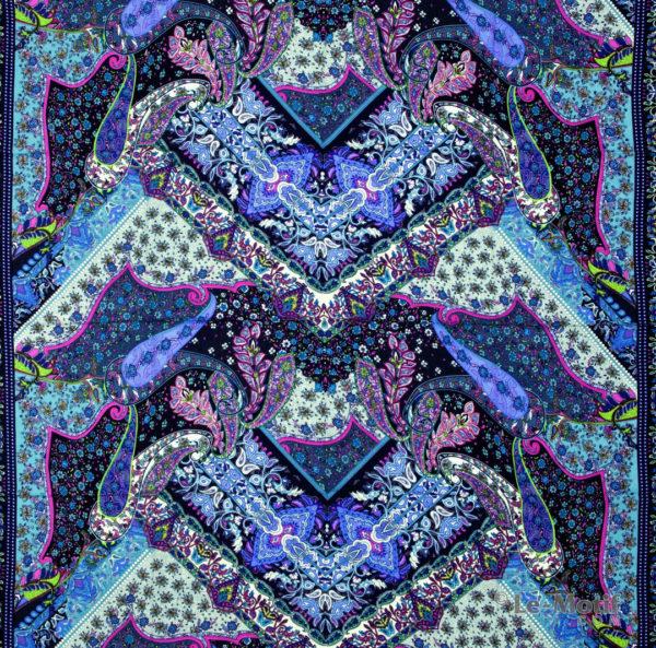 Платок Le Motif из шёлка и хлопка. Орнамент пейсли и узоры, S150-2