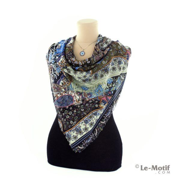 Платок Le Motif из шелка и хлопка на шее, арт. S-150-3