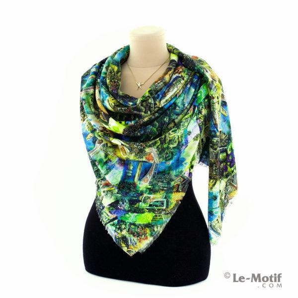 Платок Le Motif Couture из шёлка и хлопка на шее, арт. S195-3
