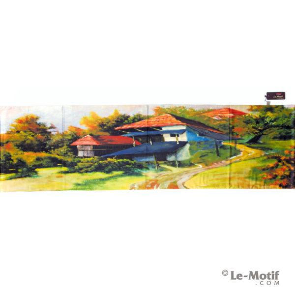 Палантин Le Motif из хлопка с вискозой. Картина-летний домик