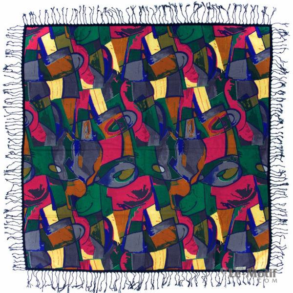 Платок Le Motif из шерсти и хлопка. Яркий цветной орнамент.