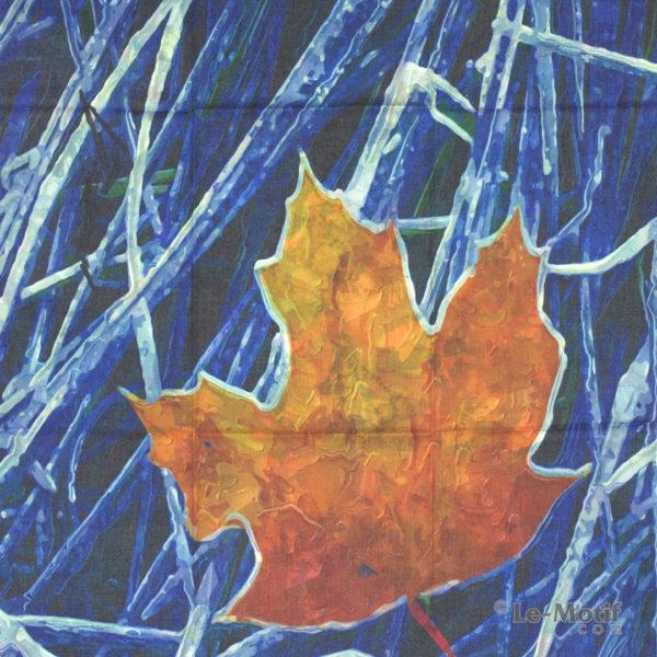 Платок Le Motif из шерсти и хлопка. Картина-замёрзший лист, арт. 115GF12