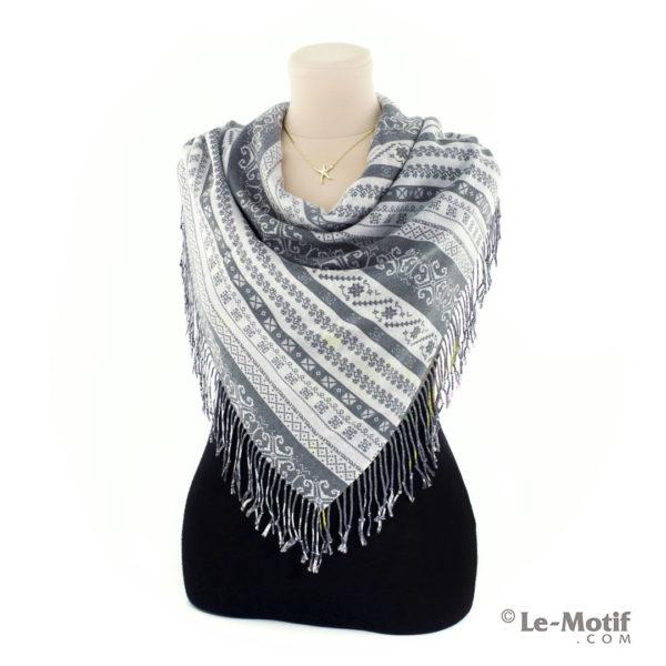 Платок Le Motif из шерсти и хлопка. Способ завязывания, 15GF585