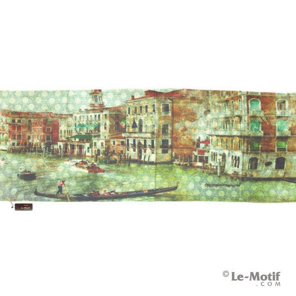 Палантин Le Motif из шерсти и хлопка. Картина - Пристани.