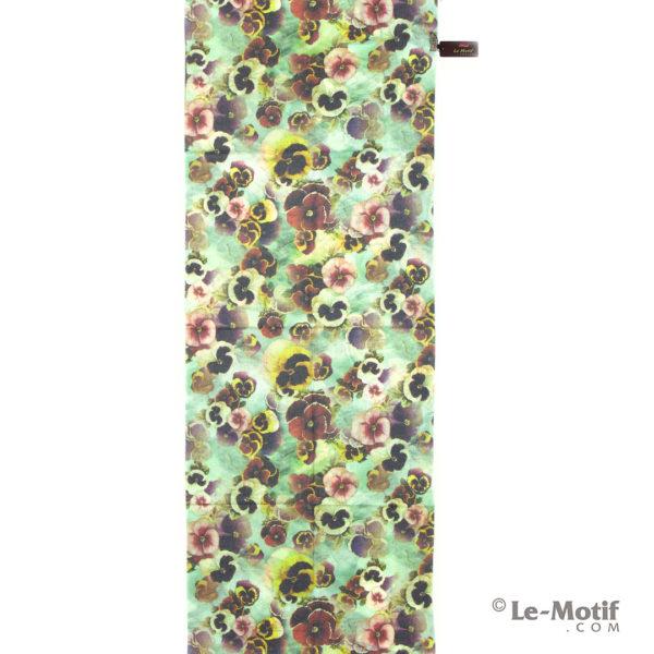 Палантин Le Motif из шерсти и хлопка. Изображение цветов.