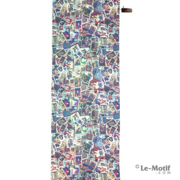 Палантин Le Motif из шерсти и хлопка. Картина-почтовые марки
