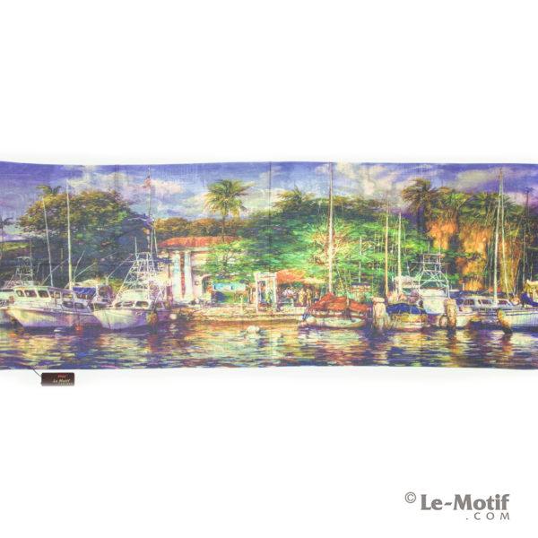 Палантин Le Motif из шерсти и хлопка. Картина-тропический остров.