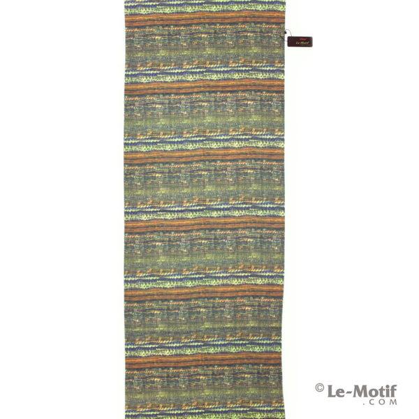 Палантин Le Motif из шерсти и хлопка. Яркие цветные линии.